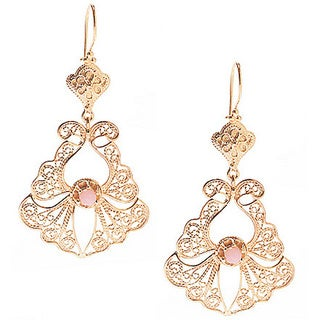 18k Gold Overlay Pink Opal Filigree Earrings