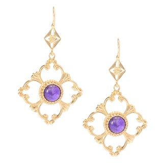 18k Gold Overlay Embraced Gemstone Cut-out Earrings