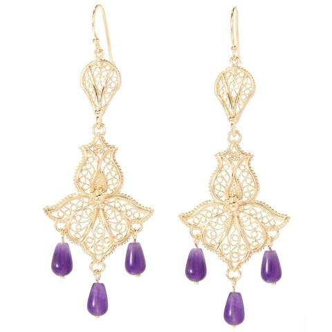 Oriental Style Gold Plated Bead Tear Drop Gemstone Earrings