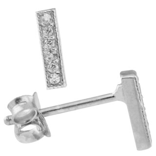 Sterling Silver Cubic Zirconia Minimalist Pave Bar Stud Earrings