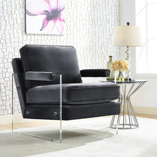 Serena Grey Velvet/ Lucite Chair