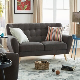 Niels Danish Modern Button Tufted Linen Fabric Loveseat by MID-CENTURY LIVING