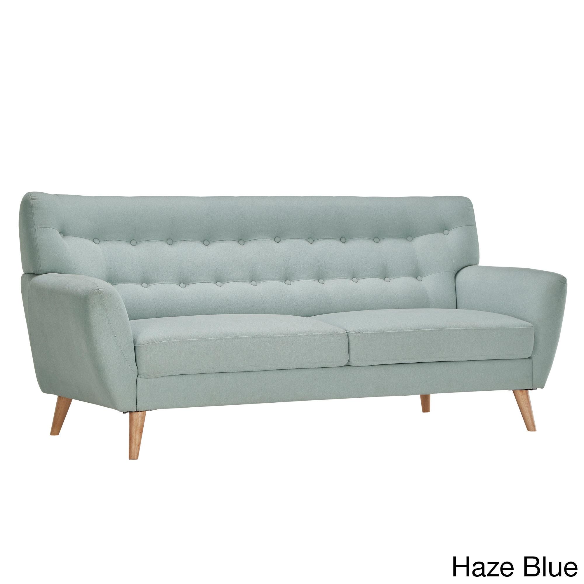 Niels Danish Modern Button Tufted Linen Fabric Sofa iNSPI...