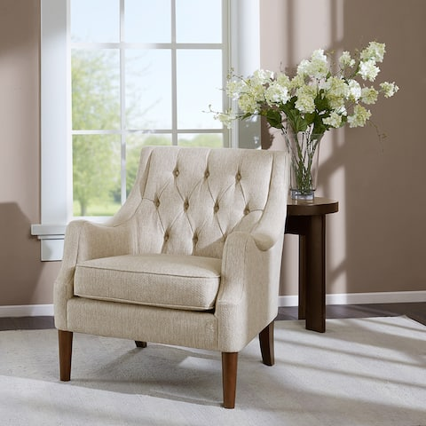 Madison Park Elle Beige Button Tufted Chair