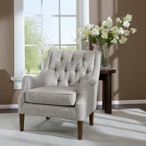 """Madison Park Elle Grey Button Tufted Chair - 29.125""""W x 31.75""""D x 33.5""""H"""