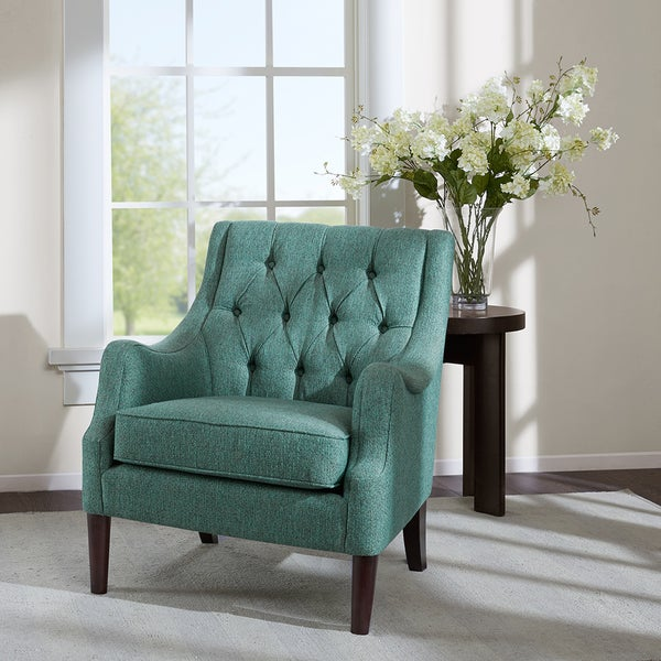 Madison Park Elle Teal Button Tufted Chair