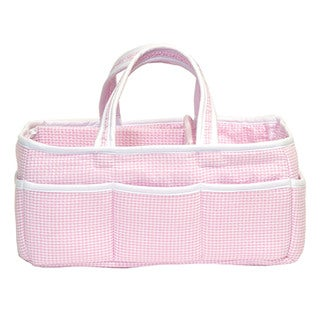 Trend Lab Baby Gingham Pink Seersucker Storage Caddy