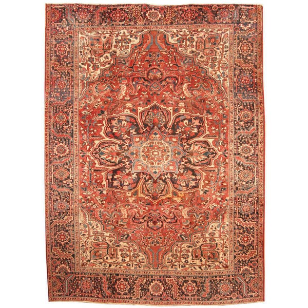 Herat Oriental Hand Tufted Wool Red Black Area Rug: Shop Handmade Herat Oriental Persian 1960s Semi-antique