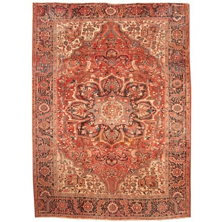 Herat Oriental Persian Hand-knotted 1960s Semi-antique Tribal Heriz Wool Rug (8'9 x 11'10)
