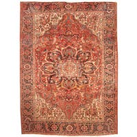 Handmade Herat Oriental Persian 1960s Semi-antique Tribal Heriz Wool Rug - 8'9 x 11'10 (Iran)