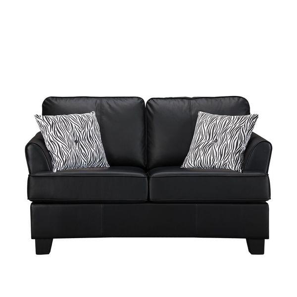 Modern Twin Sleeper Sofa: Shop K&B Modern Black Faux-leather Twin Sleeper Sofa