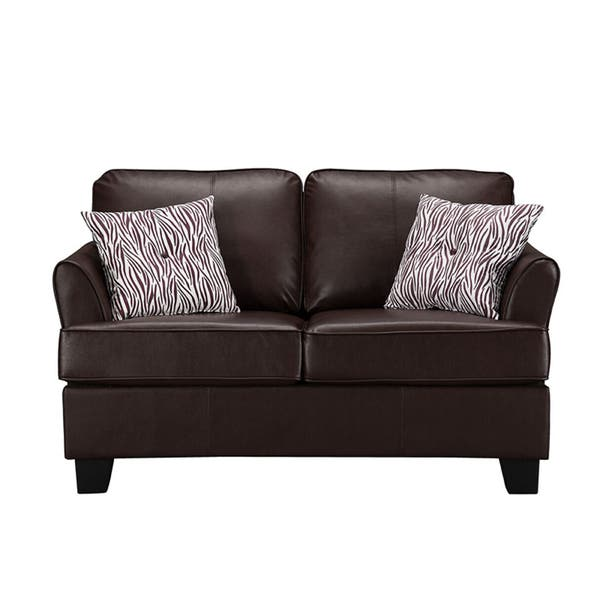 K&B Modern Black Faux-leather Twin Sleeper Sofa