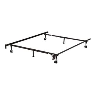 K & B B9001 Iron Steel 1.25-inch Bed Frame With 2-piece Center Support Legs and 4 Rollers