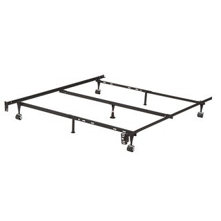 K & B B9003 1.25-inch Iron Steel Bed Frame With Center Support, 3 Support Legs and 4 Roller Wheels