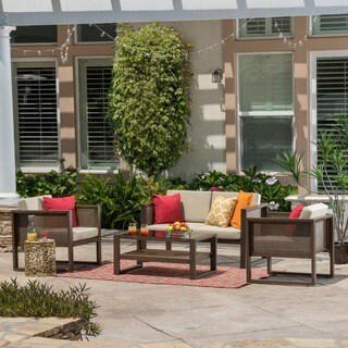Culebra Outdoor 4-piece Aluminum Chat Set with Cushions by Christopher Knight Home