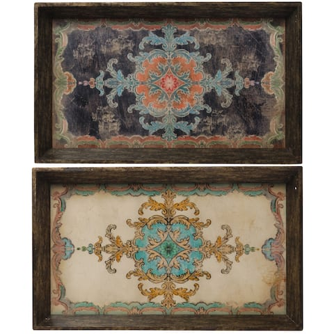 A&B Home Brown Ornamental Floral Decorative Trays (Set of 2)