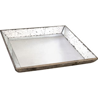 Silver Wood with Mirror Inlay Tray