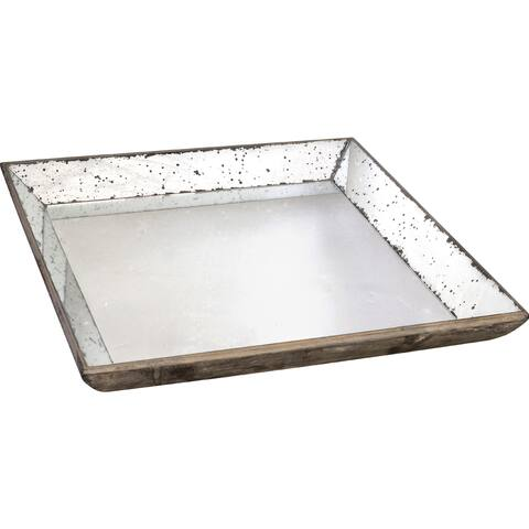 A&B Home Silver Wood with Mirror Inlay Tray