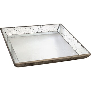 Wood and Mirrored-Inlay Tray