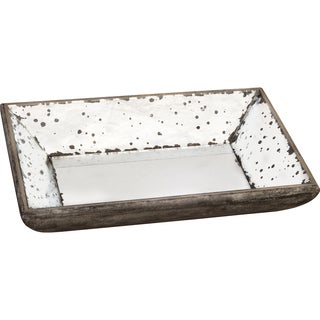 Silver-colored Wood and Glass Tray
