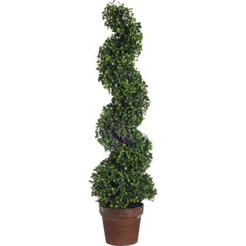A&B Home Green Potted Spiral Faux Boxwood