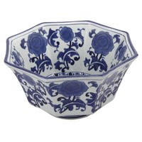 Blue and White 10.5-inch x 6-inch Decorative Chinese Ceramic Bowl