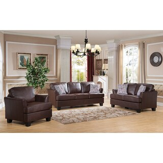 K&B Black/Brown Wood and Faux Leather Sofa