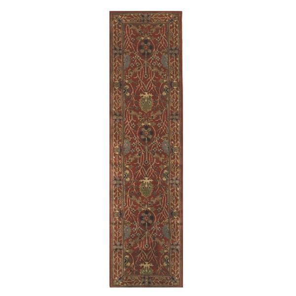 "Hand-tufted Wool Rust Traditional Oriental Morris Rug - 2'6"" x 10'"