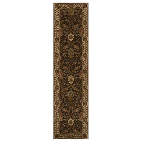 "Hand-tufted Wool Brown Traditional Oriental Morris Rug - 2'6"" x 10'"