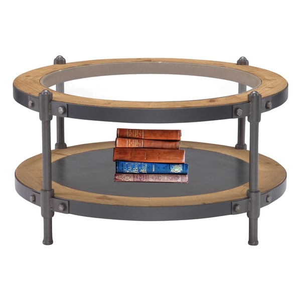 Urban Designs 31.5 Inch Iron, Wood And Glass Round Riveted Industrial Coffee  Table
