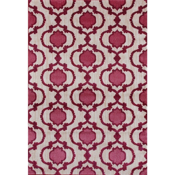 Shop Modern Moraccan Trellis Pink/Red Soft Area Rug (7'10