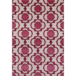 Modern Moraccan Trellis Pink/Red Soft Area Rug (7'10 x 10'2)
