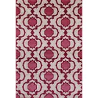 Modern Moraccan Trellis Pink/Red Soft Area Rug - 7'10 x 10'2