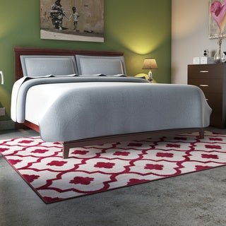 Modern Moroccan Trellis Red Soft Area Rug (7'10 x 10'2)