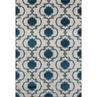 "Modern Moraccan Trellis Cream/Blue Polypropylene Area Rug (7'10 x 10'2) - 7'10"" x 10'2"""