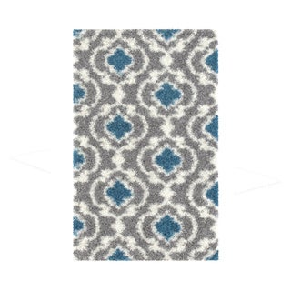 Cozy Moroccan Trellis Gray/Turquoise Indoor Shag Area Rug (3'3 X 5')