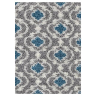 Cozy Moroccan Trellis Grey/Turquoise Indoor Shag Area Rug (5'3 x 7'3)