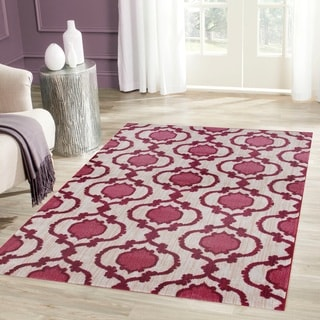 Modern Moraccan Trellis Pink/Red Soft Area Rug (2' x 3')