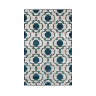 Modern Moroccan Trellis Cream/Blue Soft Area Rug (3'3 x 5')