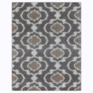 Cozy Moroccan Trellis Grey/Cream Indoor Shag Area Rug (7'10 x 10') - 7'10 x 10'