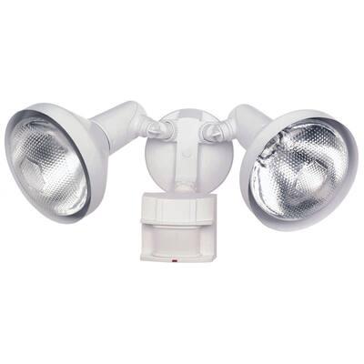 Heath Zenith White Metal Floodlight Motion-Sensing PAR 38 300 watts