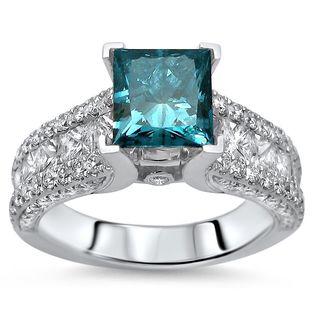 Noori Certified 14k White Gold 2 3/5ct TDW Princess-cut Blue Diamond Engagement Ring