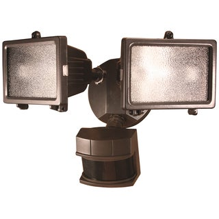 Heath Zenith Bronze Metal Security Light Motion-Sensing Quartz Halogen 120 volts 150 watts