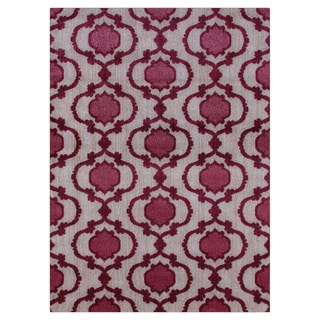 Modern Moroccan Trellis Pink/Red Soft Area Rug (5'3 x 7'3)