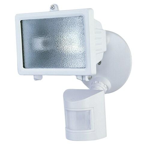 Heath Zenith White Glass Security Spotlight Motion-Sensing Halogen 150 watts