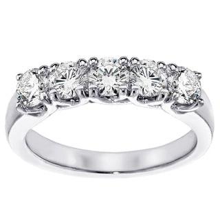 Platinum 1ct TDW Diamond Brilliant Cut Five Stone Band (G-H, SI1-SI2)