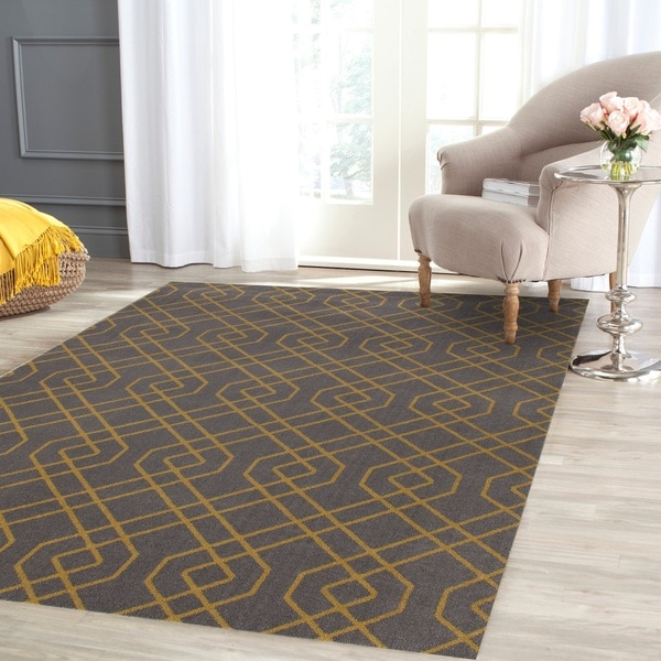 "Modern Trellis Design Grey/Yellow Polypropylene Area Rug - 3'3"" x 5'5"""