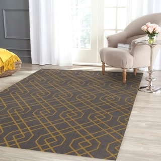 Modern Trellis Design Gray/Yellow Area Rug (5' 3 X 7' 3)