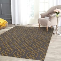 Modern Trellis Design Gray/Yellow Area Rug - 5'3 x 7'3