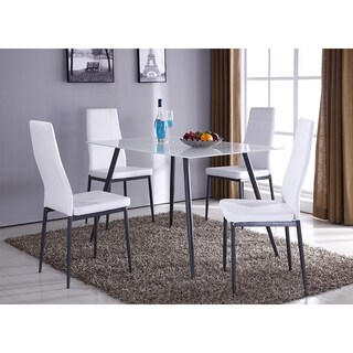 K&B D066-2 White Vinyl and Metal Set of 4 Dining Chairs